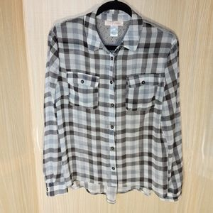 Band of Gypsies sheer checkered blouse. Small